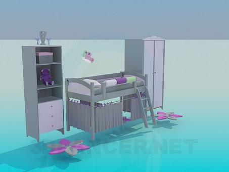 3d модель Мебель в комнату для девочки – превью