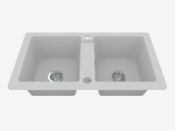 Sink, 2 bowls without wing for drying - gray metal Zorba (ZQZ S203)