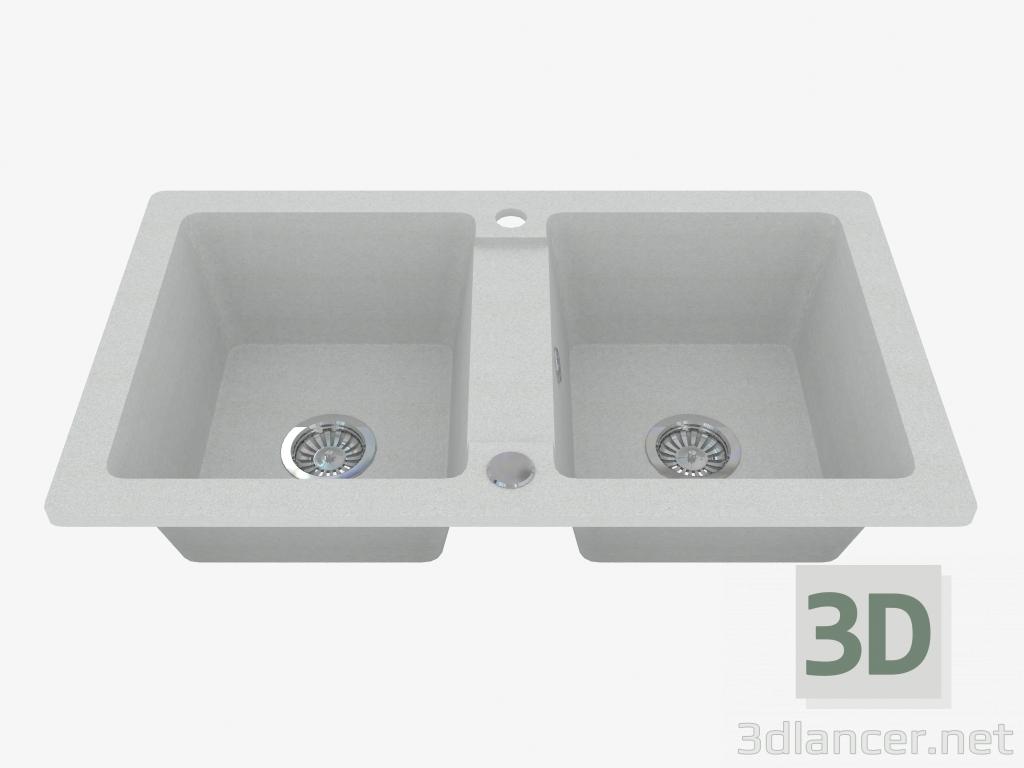 3d модель Мойка, 2 чаши без крыла для сушки - серый металик Zorba (ZQZ S203) – превью