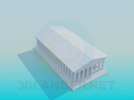 3d model Building with columns - preview