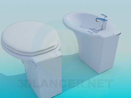 3d model The toilet and bidet - preview