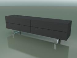 Cassettiera con 4 cassetti (64, piedi in acciaio spazzolato, laccato grigio)