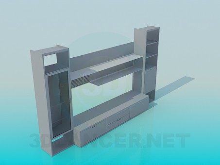3d model cupboardl in the living room - preview