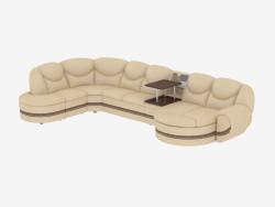 divano ad angolo in pelle con un tavolino da caffè
