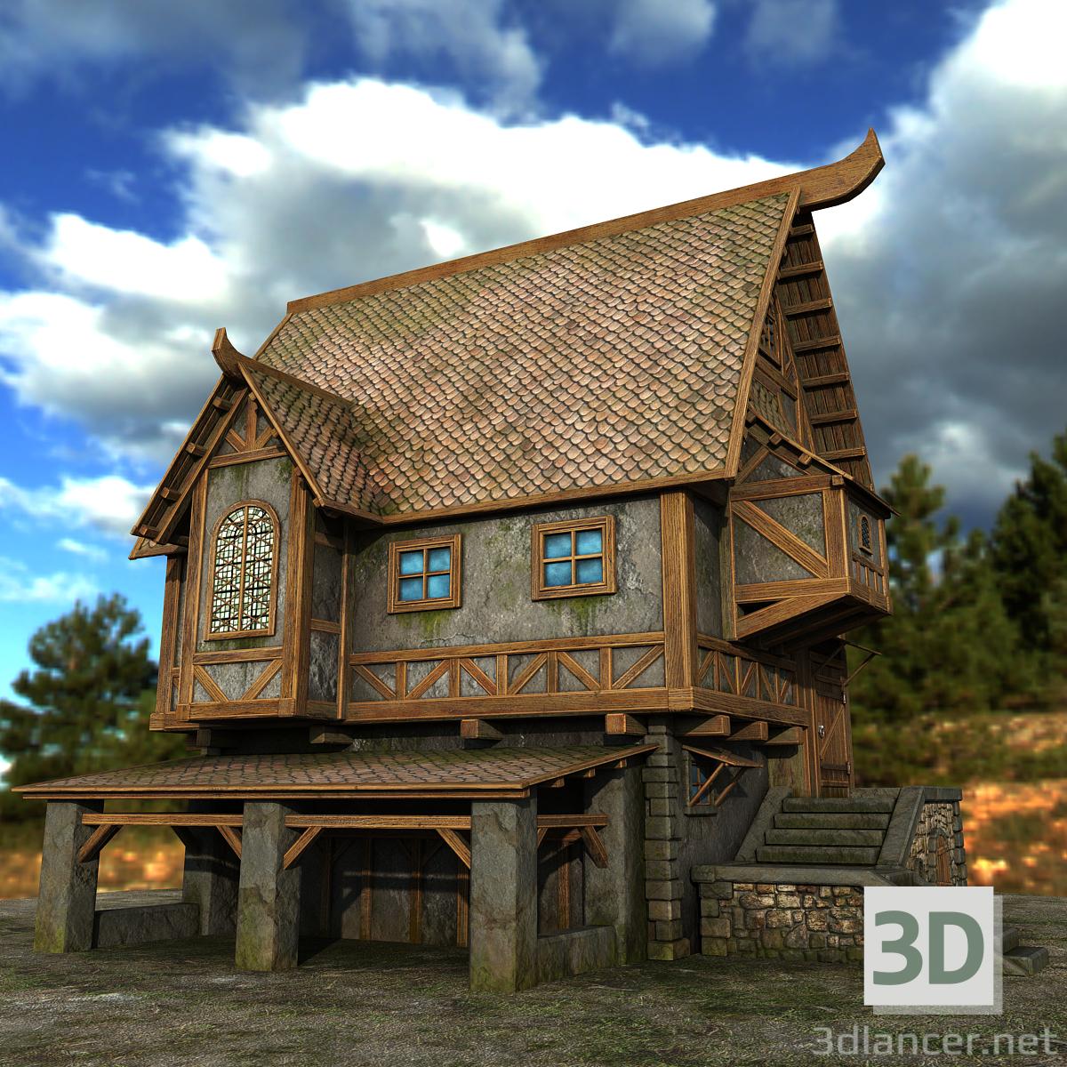 3d Country house model buy - render