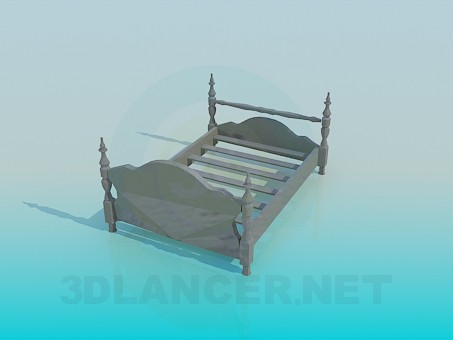 3d modeling Wooden bed in the old style model free download