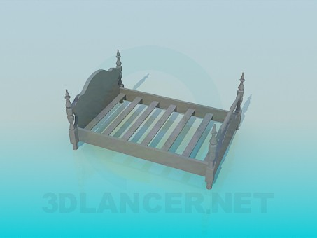 3d model Wooden bed in the old style - preview