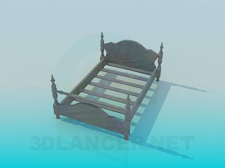 3d модель Деревянная кровать в старом стиле – превью