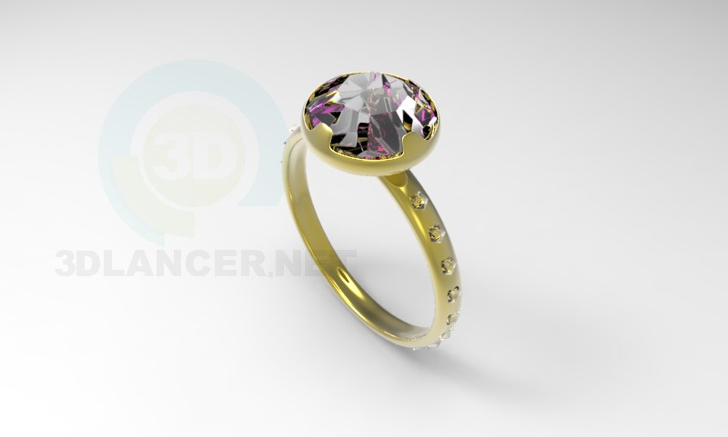 3d model Ring with stone 2 - preview