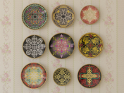 Set of decorative plates with different ornaments