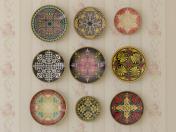 Satz dekorative Platten mit verschiedenen Verzierungen