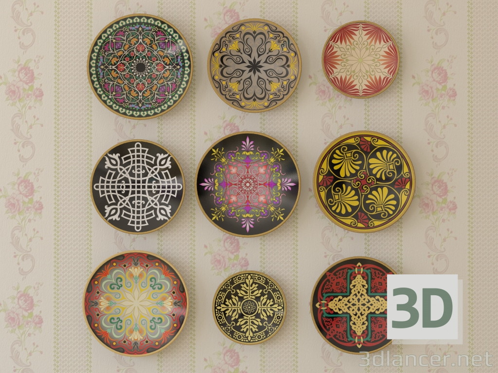3d Set of decorative plates with different ornaments model buy - render