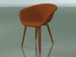 Armchair 4233 (4 wooden legs, upholstered, teak effect)