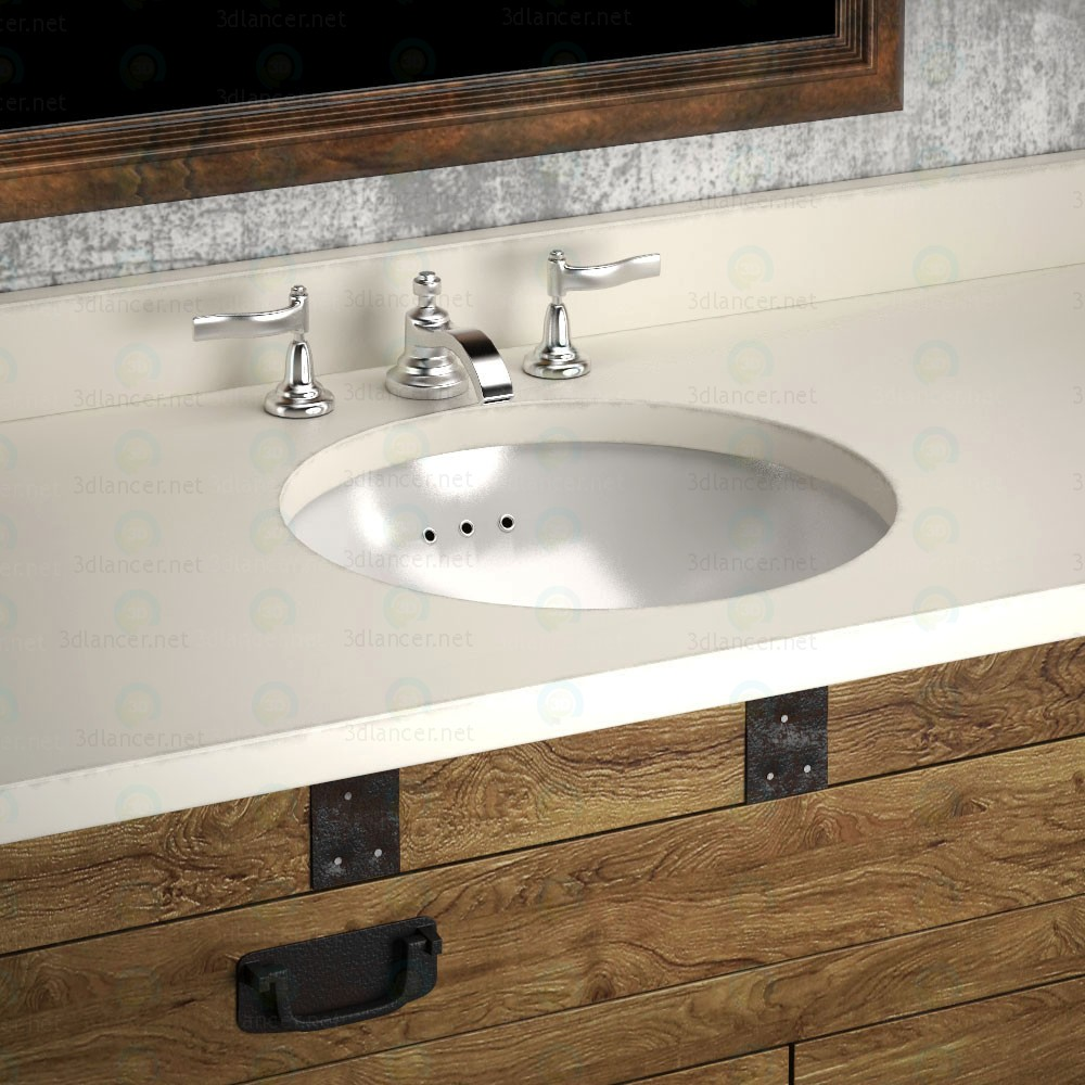 HEIRLOOM SILVER a washbasin and cupboard Restoration Hardware paid 3d model by artistos preview
