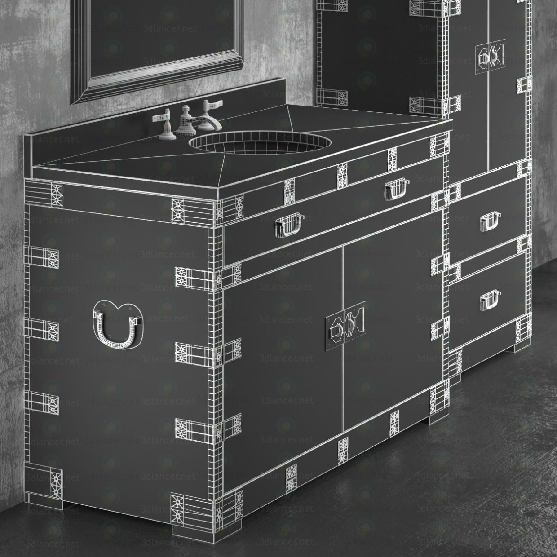 3d HEIRLOOM SILVER a washbasin and cupboard Restoration Hardware model buy - render