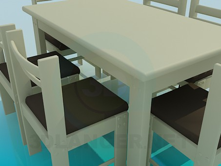 3d model Dining table with chairs for 6 persons - preview