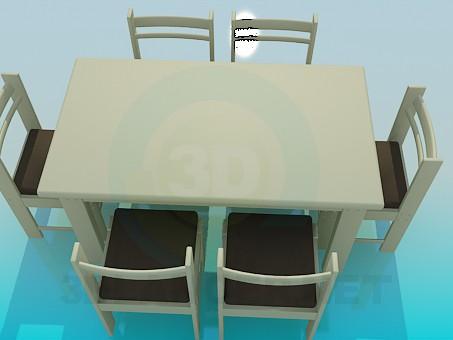 3d модель Обеденный стол со стульями на 6 персон – превью