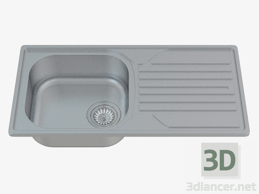 3d model Sink, 1 bowl with a wing for drying - sateen Legato (ZEL 0113) - preview
