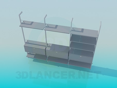3d моделирование Открытый стеллаж с ящиками и полками модель скачать бесплатно