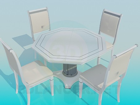3d model Table with chairs - preview