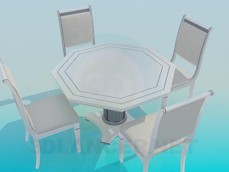 3d модель Столик со стульями – превью