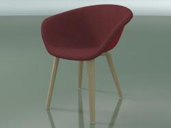 कुर्सी 4213 (4 लकड़ी के पैर, सामने की ओर असबाब के साथ, प्रक्षालित ओक, PP0003)