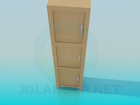 3d model Cupboard with three cells - preview