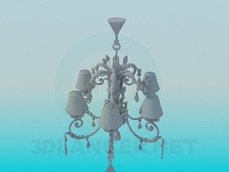 3d modeling Chandelier with a beautiful ornament model free download