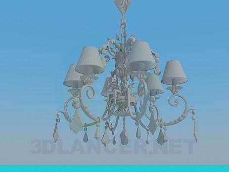 modelo 3D Lámpara Chandelier con un hermoso adorno - escuchar