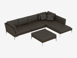 sofá de couro Modular canto Angolo 209