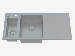 Fregadero, cuenco de 1,5 con un ala para secar - Satino Sinope (ZDS 051P)