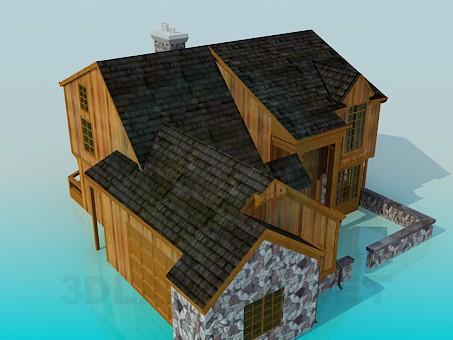 3d model Casa de madera con piedra - vista previa