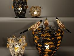 Set Glas-Vaz-Leuchter