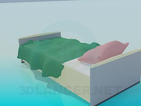 3d модель Односпальне ліжко – превью