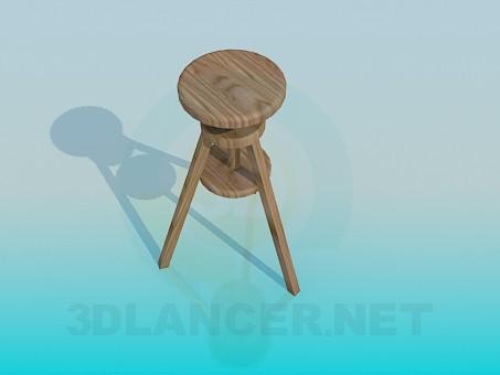 3d модель Триногий дерев'яний табурет – превью