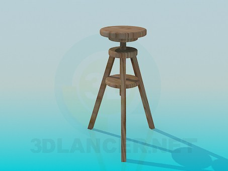 3d model Three-legged wooden stool - preview