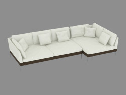 Modular canto sofá de couro Angolo 209i