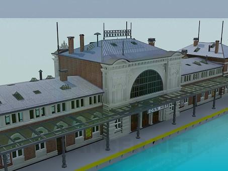 modelo 3D Edificio de la estación de ferrocarril - escuchar