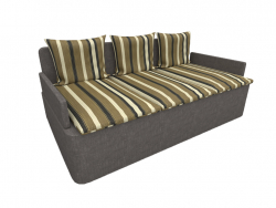 sofa with striped pillows