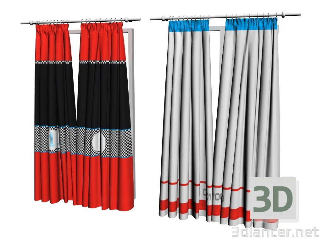 3d model Curtain BiPanel - preview