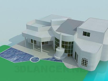 3d моделирование Особняк с бассейном модель скачать бесплатно