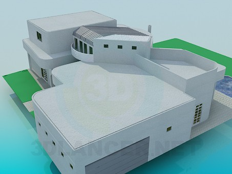 3d model Mansion with a swimming pool - preview