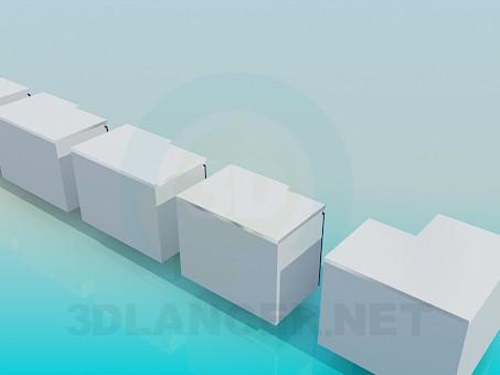 3d модель Кухонный набор тумбочек – превью
