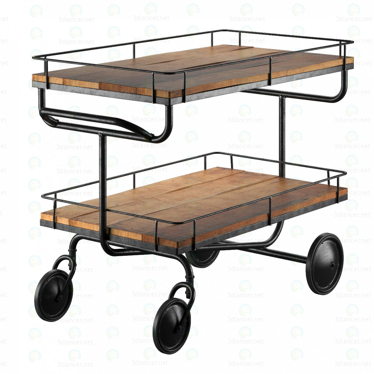 3d bar trolley Restoration Hardware model buy - render