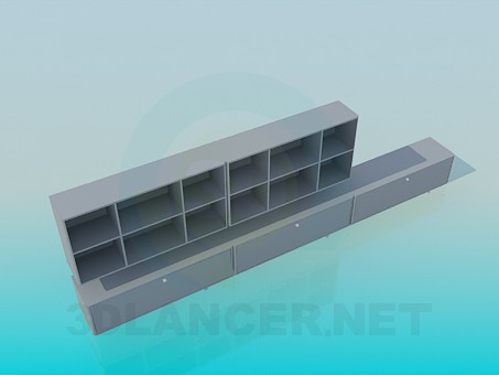 3d model Elongated low floor-stand and wall shelf set - preview