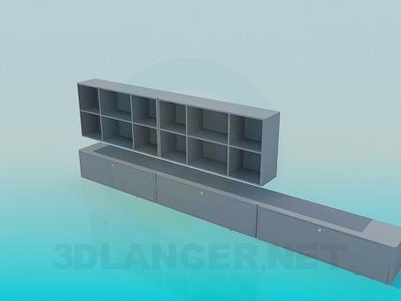 3d модель Удлиненная низкая тумба - подставка и настенная полка в наборе – превью