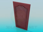 Door in grille for kitchen cabinet