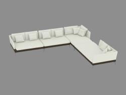 sofá de couro modular fianco 144