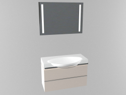 Washbasin with cabinet and mirror
