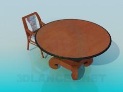 Mesa redonda com cadeira